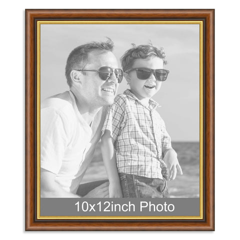 10 x 12inch Mahogany and Gold Wooden Photo Frame for a 10x12/12x10in photo