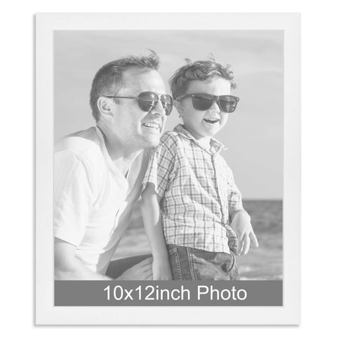 10 x 12inch White Wooden Photo Frame for a 10x12/12x10in photo