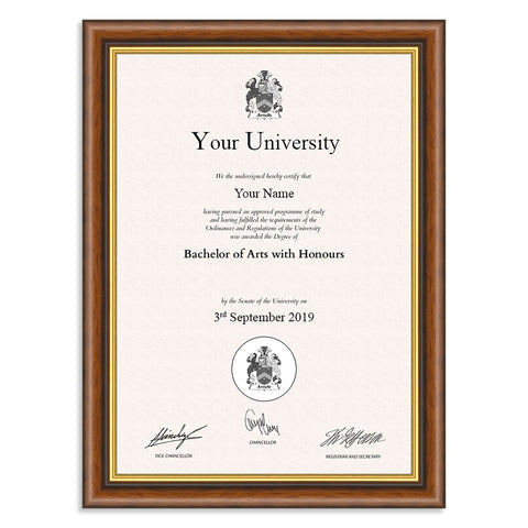 Classic Mahogany and Gold Wooden A4 Certificate Frame