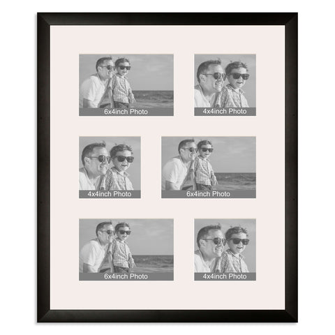 Matt Black Multi Aperture Photo Frame for three 6x4/4x6in and three 4x4in photos