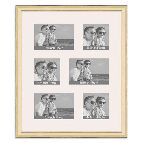 Gold Multi Aperture Photo Frame for three 6x4/4x6in and three 4x4in photos