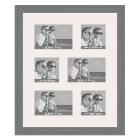 Grey Multi Aperture Photo Frame for three 6x4/4x6in and three 4x4in photos