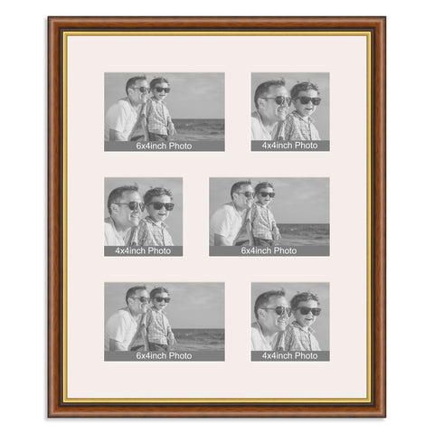 Traditional Mahogany & Gold Multi Aperture Photo Frame for three 6x4/4x6in and three 4x4in photos