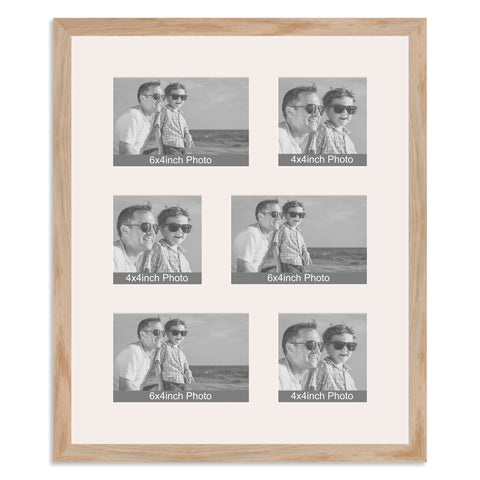 Solid Oak Multi Aperture Photo Frame for three 6x4/4x6in and three 4x4in photos