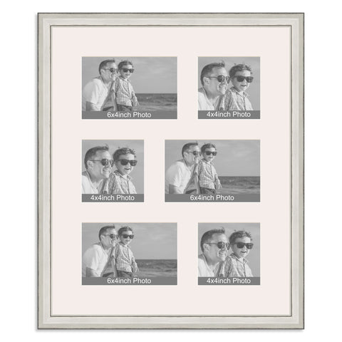 Silver Multi Aperture Photo Frame for three 6x4/4x6in and three 4x4in photos