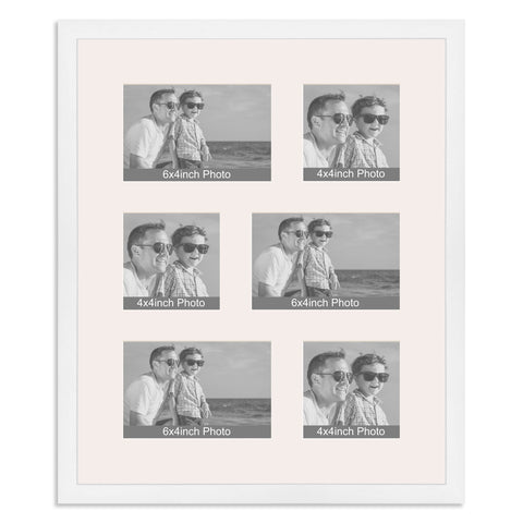 Matt White Multi Aperture Photo Frame for three 6x4/4x6in and three 4x4in photos