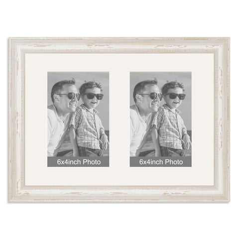 White Shabby Chic Multi-Aperture Frame for two 6x4inch Photos