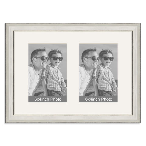 Silver Multi-Aperture Frame for two 6x4inch Photos