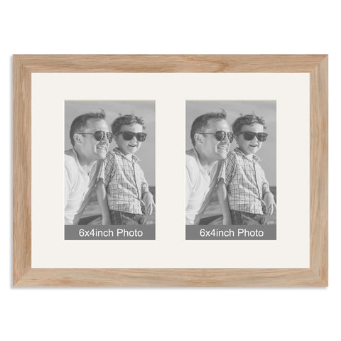 Solid Oak Multi-Aperture Frame for two 6x4inch Photos