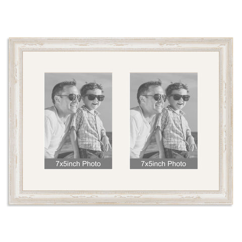 White Shabby Chic Multi-Aperture Frame for two 7x5inch Photos