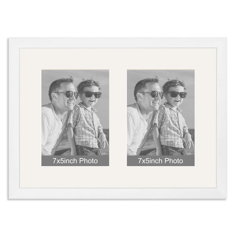 Matt White Multi-Aperture Frame for two 7x5inch Photos
