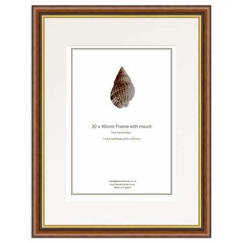 Elite Collection: Mahogany and Gold Frame including mount for an A4 Certificate