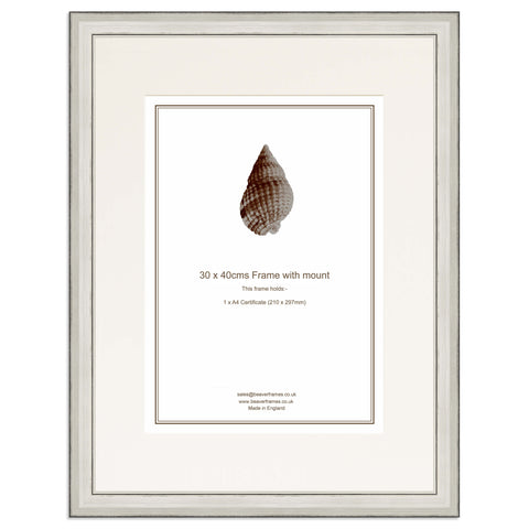 Elite Collection: Silver Frame including mount for an A4 Certificate