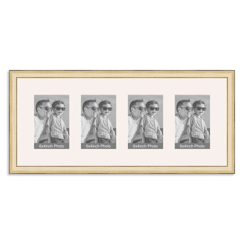 Gold Multi Aperture Photo Frame for four 6x4inch photos