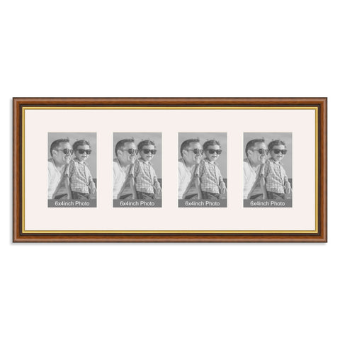 Traditional Mahogany and Gold Multi Aperture Photo Frame for four 6x4inch photos