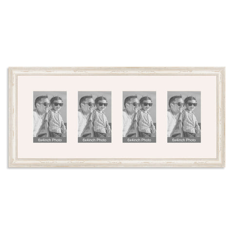 White Shabby Chic Multi Aperture Photo Frame for four 6x4inch photos
