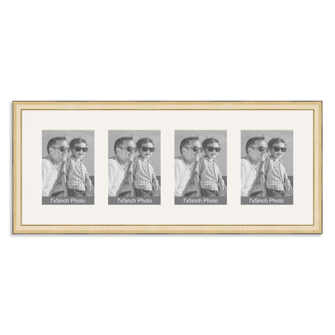 Gold Multi Aperture Photo Frame for four 7x5inch photos