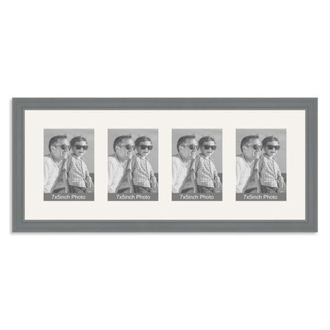 Grey Multi Aperture Photo Frame for four 7x5inch photos