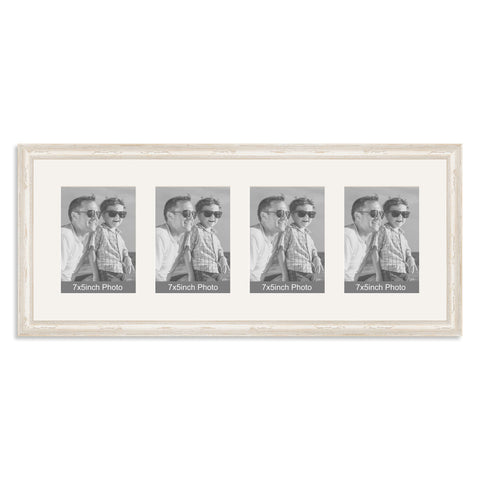 White Shabby Chic Multi Aperture Photo Frame for four 7x5inch photos