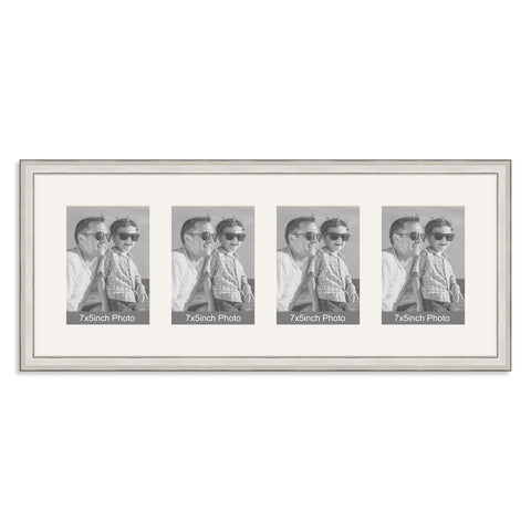 Silver Multi Aperture Photo Frame for four 7x5inch photos