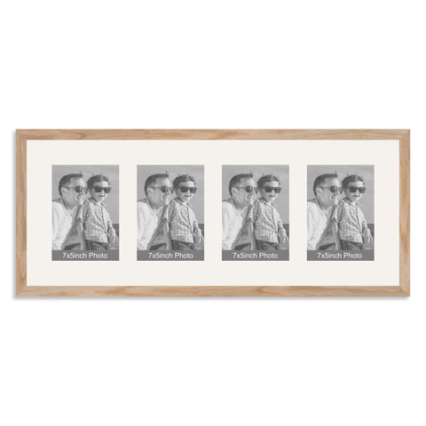 Solid Oak Multi Aperture Photo Frame for four 7x5inch photos