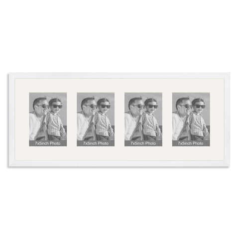 Matt White Multi Aperture Photo Frame for four 7x5inch photos