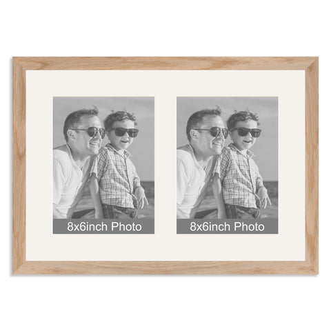 Solid Oak Multi-Aperture Frame for two 8x6/6x8in Photos