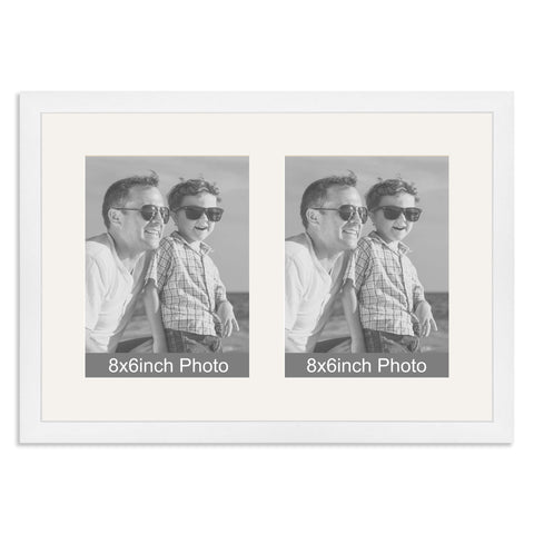 Matt White Multi-Aperture Frame for two 8x6/6x8in Photos