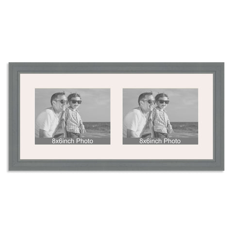 Grey Multi-Aperture Frame for two 8x6/6x8in landscape Photos