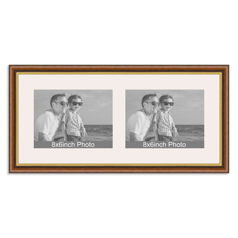 Mahogany Gold Wooden Multi Aperture Frame For Two 8x66x8in Landscap