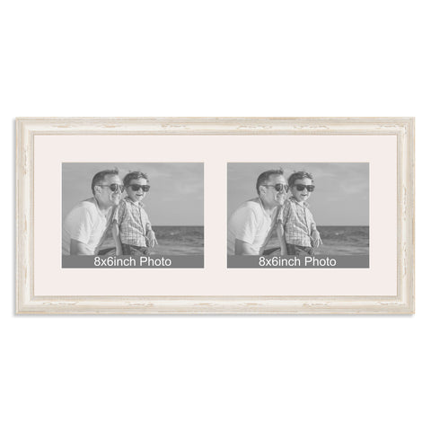 White Shabby Chic Multi-Aperture Frame for two 8x6/6x8in landscape Photos