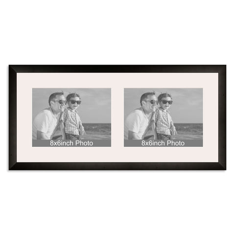 Black Wooden Multi Aperture Frame For Two 8x66x8in Landscape Photos