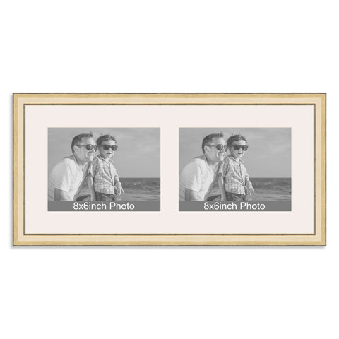 Gold Multi-Aperture Frame for two 8x6/6x8in landscape Photos