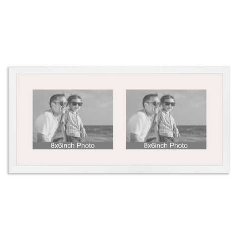 Matt White Multi-Aperture Frame for two 8x6/6x8in landscape Photos