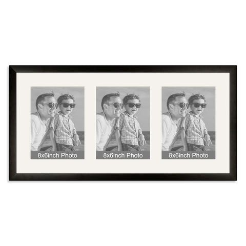 Matt Black Multi-Aperture Frame for three 8x6/6x8in Photos