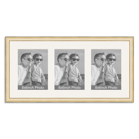 Gold Multi-Aperture Frame for three 8x6/6x8in Photos