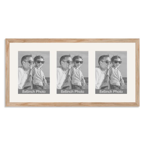 Solid Oak Multi-Aperture Frame for three 8x6/6x8in Photos