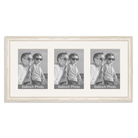 White Shabby Chic Multi-Aperture Frame for three 8x6/6x8in Photos