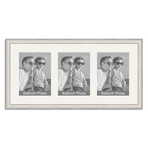 Silver Multi-Aperture Frame for three 8x6/6x8in Photos