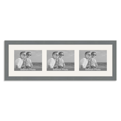 Grey Multi-Aperture Frame for three 8x6/6x8in landscape Photos