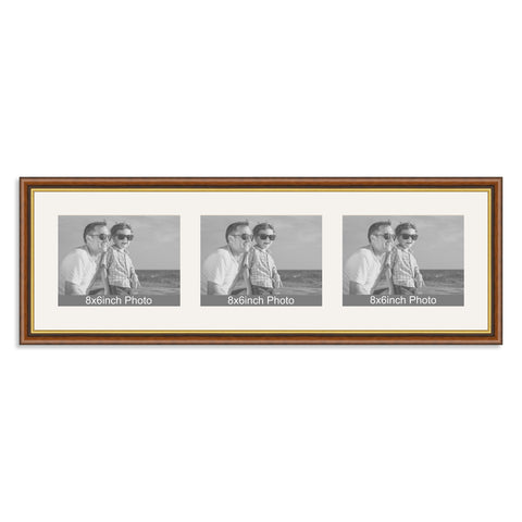 Traditional Mahogany & Gold Multi-Aperture Frame for three 8x6/6x8in landscape Photos