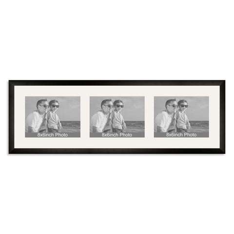 Matt Black Multi-Aperture Frame for three 8x6/6x8in landscape Photos