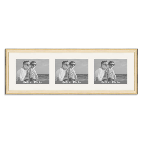 Gold Multi-Aperture Frame for three 8x6/6x8in landscape Photos