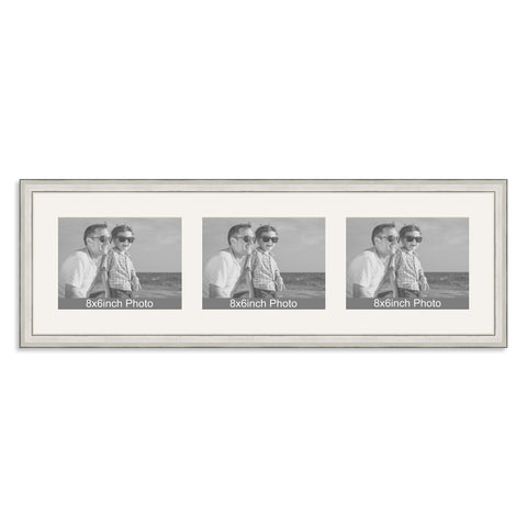 Silver Multi-Aperture Frame for three 8x6/6x8in landscape Photos