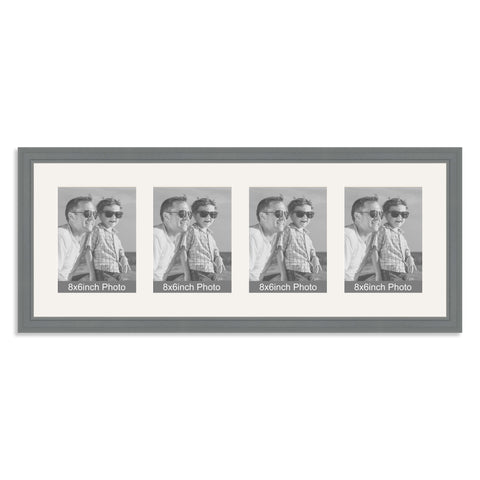 Grey Multi-Aperture Frame for four 8x6/6x8in Photos
