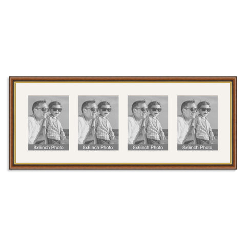 Mahogany & Gold Wooden Multi Aperture Frame for four 8x6/6x8in Photos