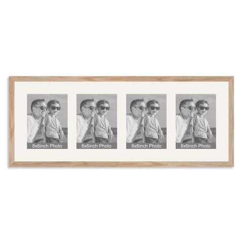 Solid Oak Multi-Aperture Frame for four 8x6/6x8in Photos