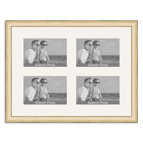 Gold Multi-Aperture Frame for four 6x4/4x6in Photos