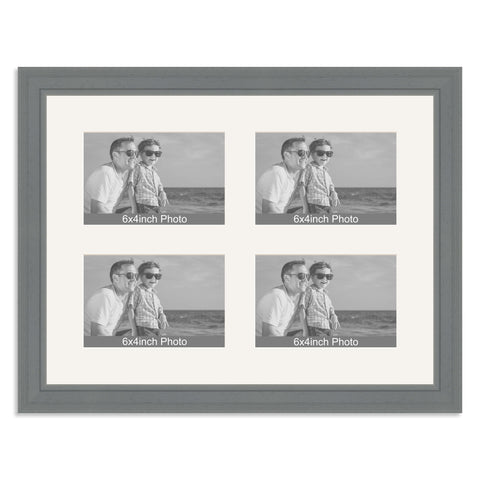 Grey Multi-Aperture Frame for four 6x4/4x6in Photos
