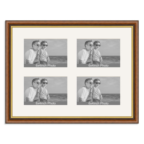 Traditional Mahogany & Gold Multi-Aperture Frame for four 6x4/4x6in Photos